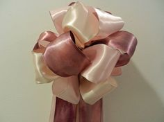 Lt pink Ivory and Mauve satin Wedding/ Pew by creativelycarole