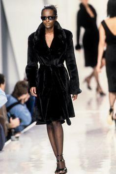 DKNY by Donna Karan - Fall Winter 1995 1996 New York Donna Karan, Supermodels, Fur Coat, Fall Winter, Spring Summer, New York, Elegant, Jackets, Black