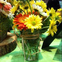 Mason jar daisy centerpiece - in pink though