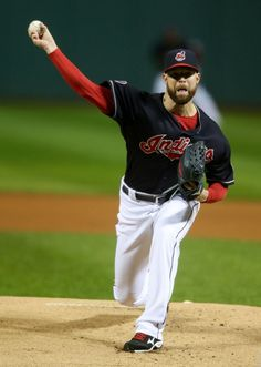 Corey Kluber delivers against the Boston Red Sox Saturday, Oct. 3, 2015,to take the win 2-0  in Cleveland. (AP Photo/Ron Schwane)