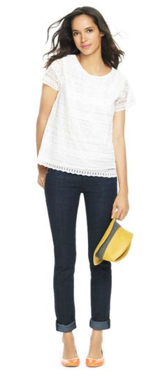 Basics: white top, cuffed jeans + flats. #jcrew