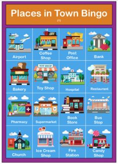 Places In Town / City - Poster, Flashcards, Bingo, Worksheet Preschool Class, Preschool Activities, Kindergarten, Color Flashcards, Kids English, Classroom Posters, Bus Station, Bingo Cards, Vocabulary Words