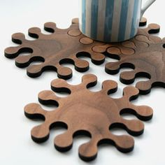 A Set Of Solid Walnut Jigsaw Coasters - home accessories
