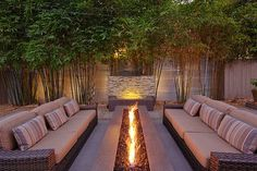 Gorgeous outdoor firepit, furniture and water feature, offered lots of privacy by a living wall of bamboo!Gorgeous outdoor firepit, furniture and water feature, offered lots of privacy by a living wall of bamboo! Patio Pergola, Backyard Patio, Backyard Landscaping, Landscaping Ideas, Backyard Seating, Outdoor Seating, Outdoor Privacy, Outdoor Fire Table, Cheap Pergola
