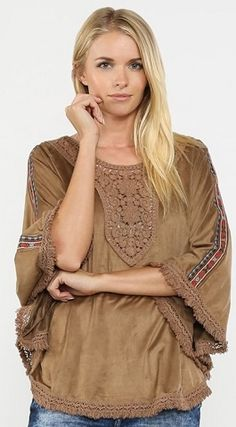 6281435e080655 Flying Tomato Brown Crochet Dolman Top by Flying Tomato