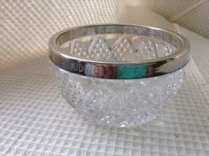 Small Crystal Bowl with Silver Edge by karenslittlebluebarn on Etsy Barn, Pottery, Crystals, Creative, Silver, Handmade, Stuff To Buy, Etsy, Vintage