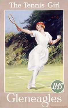 Gleneagles/The Tennis Girl Poster Vintage Giclee Fine Art Print