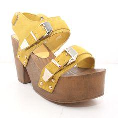 Yellow Leather Wooden Sandal @Noveltylane.com