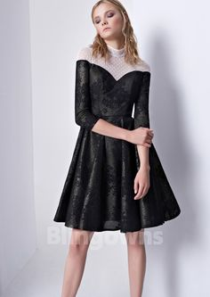 High-neck Chinlon Lace Zipper A-line Ruched Knee Length Black 3/4 Sleeves Homecoming / Prom Dresses