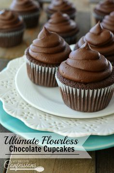 Ultimate Flourless Chocolate Cupcakes- If I didn't know these cupcakes were flourless, I would never believe it! They are hands down the best chocolate cupcake I have ever tasted! They are so moist and fudgy, you will have a hard time believing they are gluten-free. The Chocolate Fudge Frosting is an easy homemade frosting recipe that is perfect for these cupcakes!