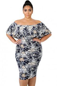 c435d2d5455 Plus Size Off Shoulder Ruffle Textured Bodycon Dress