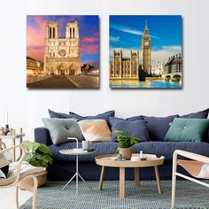 2 Pieces European Ancient Architecture Wall Pictures Decor Art Canvas Paint British Palace French Church Room Prints No Frames