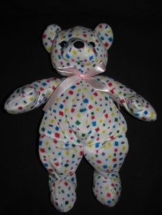 "Kellytoy Beanpals Plush Bear Colorful Confetti Squares 15"" Teddy #Kellytoy"