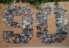 90 years of pictures put into a collage for my grandmas 90th birthday party! @Marianne Glass Glass Ekegren