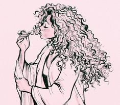 Curly Hair Cartoon, Curly Hair Drawing, Cartoon Sketches, Drawing Sketches, Art Drawings, Cartoon Kunst, Cartoon Art, Hair Sketch, Beautiful Sketches