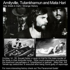 October 14 - Ronald Defeo Jr goes on trial for the mass murder of his family in their Amityville home. - After much preperation and planning, the innermost sarcophagus of Tutankhamun is opened. Creepy Stories, Horror Stories, Ghost Stories, Horror Films, Ronald Defeo Jr, Ghost Pictures, Ghost Pics, Urban Stories, Famous Serial Killers