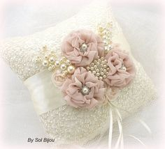 Ring Bearer Pillow Bridal Pillow in Ivory and Blush by SolBijou Wedding Ring Cushion, Wedding Pillows, Ring Bearer Pillows, Ring Pillows, Shabby Chic Pillows, Flower Girl Basket, Silk Ribbon Embroidery, Handmade Flowers, Fabric Flowers