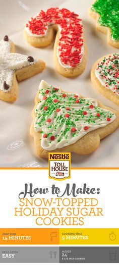 holiday treats These Snow-Topped Holiday Sugar Cookies are fun to make, and even better to enjoy! The whole family will love to decorate and devour these holiday treats. Christmas Sugar Cookies, Christmas Snacks, Christmas Cooking, Holiday Cookies, Holiday Treats, Holiday Recipes, Christmas Recipes, Christmas Goodies, Christmas Candy