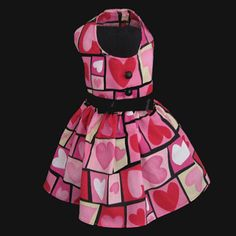 Etsy Dog Dress Modern Pink Patchwork Heart by LittleDogFashion, $44.00