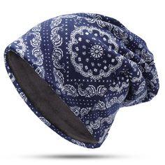 0c767e4bce7 Women Vintage Multifunctional Print Cotton Beanie Hats Scarf