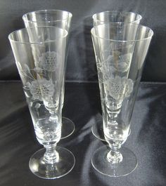 Hughes Cornflower Beer Pilsener Footed Glasses Lot of 4 Vintage   eBay