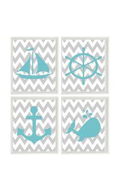 Nautical Nursery Art Print Set - Aqua Gray Chevron Decor - Whale Anchor Sailboat Wheel - Neutral Baby - Wall Art Home Decor Set 4 8x10 on Etsy, $50.00