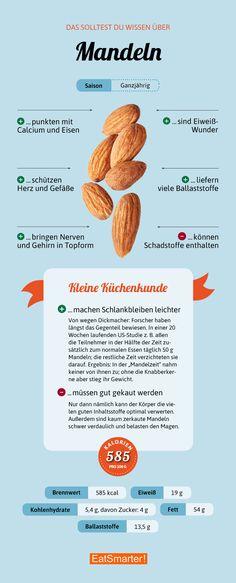 Das solltest du über Mandeln wissen | eatsmarter.de #mandeln #infografik #gesundernähren