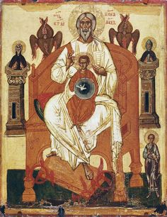 Trinity with the Saints / La Trinidad con Santos // Beginning of the century // Unknown artist // The State Tretyakov Gallery Fall Of Constantinople, Google Art Project, Christian Artwork, Russian Icons, Byzantine Icons, 14th Century, New Testament, Religious Art, Art Google