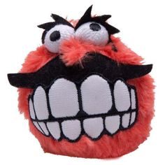 Rogz Fluffy Grinz Squeaky Ball Red