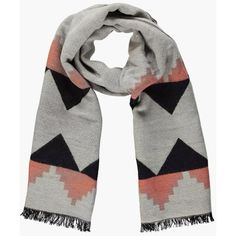 Boohoo Casey Colour Block Oversized Scarf ($20) ❤ liked on Polyvore featuring accessories, scarves, blush and oversized scarves