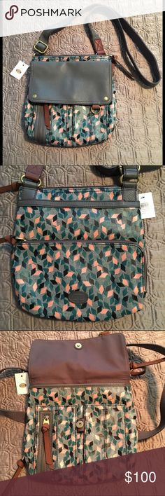 Fossil Cross body Bag in Gray w/ Teal & Peach Geo Adorable Fossil cross body bag with teal, peach, and black geo print with gray leather trim, flap, and straps. Brown leather zipper pulls and gold tone hardware. Approx. 11 in. W x 12 in. H. Brand new with tags, never used. Make an offer!!  Fossil Bags Crossbody Bags