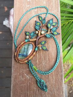 Micro Macramé Tree of Life Necklace with Labradorite. Boho / Hippie / Gypsy / Zen / Amulet / Talisman / Unisex / Healing / Chakra Stone by LifeLovesMeDesigns on Etsy