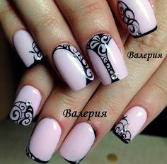 Pastel pink + black lace