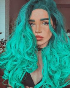ombre green hair lace front wig for girl Synthetic Lace Front Wigs, Synthetic Hair, Red Lace Front Wig, Long Length Hair, Arctic Fox Hair Color, Brown Hair With Highlights, Free Hair, Hair Lengths, Braided Hairstyles