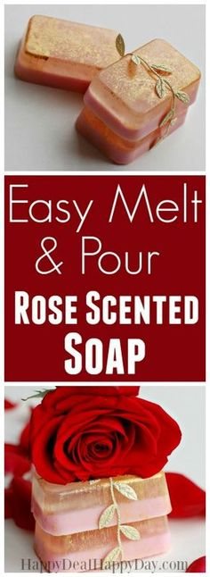 Easy melt and pour rose soap - I used both glycerin soap and goat's milk soap - with gold mica sparkles! #meltandpour #meltandpoursoap #rosegold #rosesoap #HomeMadeSoapDIYs #homemadesoap #rosegoldsoap #weddingfavors #diygifts