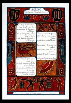 Ariano Suassuna - Iluminogravura assinada, datada de 2002, 39x56cm sonho e soneto com moldura, raridade atualmente depois do falecimento do autor no ano passado.