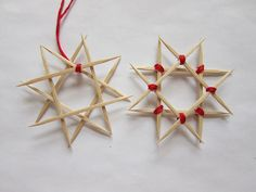 Advent Calendar Project - Wooden Star Ornament from toothpicks Christmas Ornaments To Make, Easy Christmas Crafts, Handmade Christmas, Christmas Decorations, Christmas Star, Toothpick Crafts, Kids Calendar, Advent Calendar, Danish Christmas