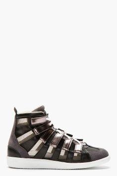 MAISON MARTIN MARGIELA Pewter Mesh & Suede Gladiator Sneakers