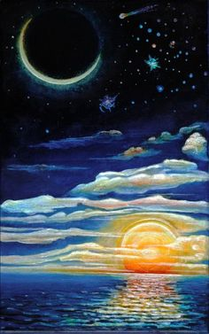 The Moon and The Sun painting Painting Inspiration, Art Inspo, Tattoo Inspiration, Sun Moon Stars, Desenho Tattoo, Beautiful Moon, Moon Art, Art Drawings, Pretty Drawings