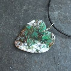 Chrysoprase pendant necklace organic one by NaturesArtMelbourne