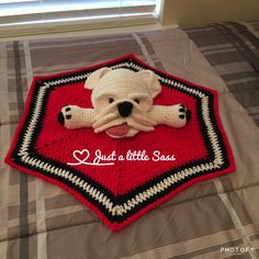Georgia Bulldog Lovey Blanket Crochet Amigurumi red white black Crochet Lovey, Blanket Crochet, Crochet Gifts, Crochet Ideas, Lovey Blanket, Project Ideas, Projects, Georgia Bulldogs, Amigurumi