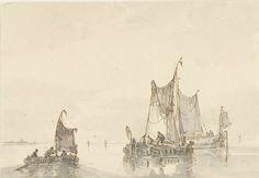 Drie zeilschepen op het water, Albertus van Beest, 1830 - 1860