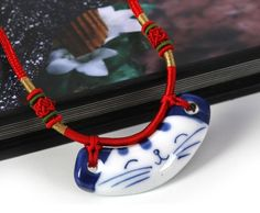 Ethnic wind hot lucky Cat l hand-woven ceramic handmade pendant necklace jewelry | eBay