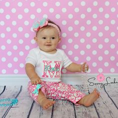 Personalized Baby Girl Clothes Newborn Girl Take Home Outfit Damask and Mint  Baby Girl Pants Outfit with Headband Baby Gift Set by sassylocks on Etsy https://www.etsy.com/listing/242967405/personalized-baby-girl-clothes-newborn