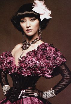 """Zhou Xun in """"Back to Grace"""" for Vogue China January 2013 photographed by Karl Lagerfeld"""
