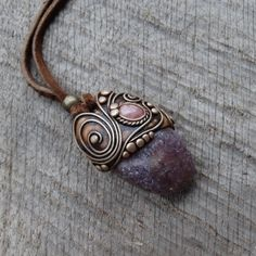 SHIPPING INCLUDED Lepidolite Rhodochrosite Pendant by FairyDrop