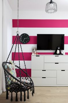 PINK STRIPES ON WALL, PINK WALL COLOR  GIRL ROOM Pink Striped Walls, Pink Walls, Pink Stripes, Girl Room, Remodeling, House Styles, Color, Furniture, Home Decor