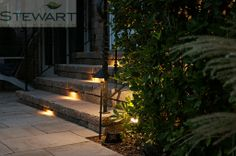 Adding a little lighting on outdoor stairs is not only safe, it's delightfully ambient! #StewartLandDesigns