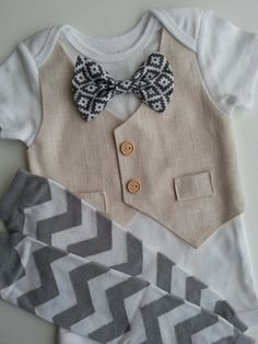 Baby Boy Onesie With An Ivory Vest Attached 78c975187