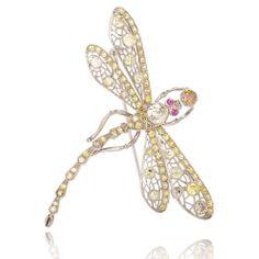 Fancy Diamond and Sapphire Art Nouveau Dragonfly Pin 18K WG   eBay